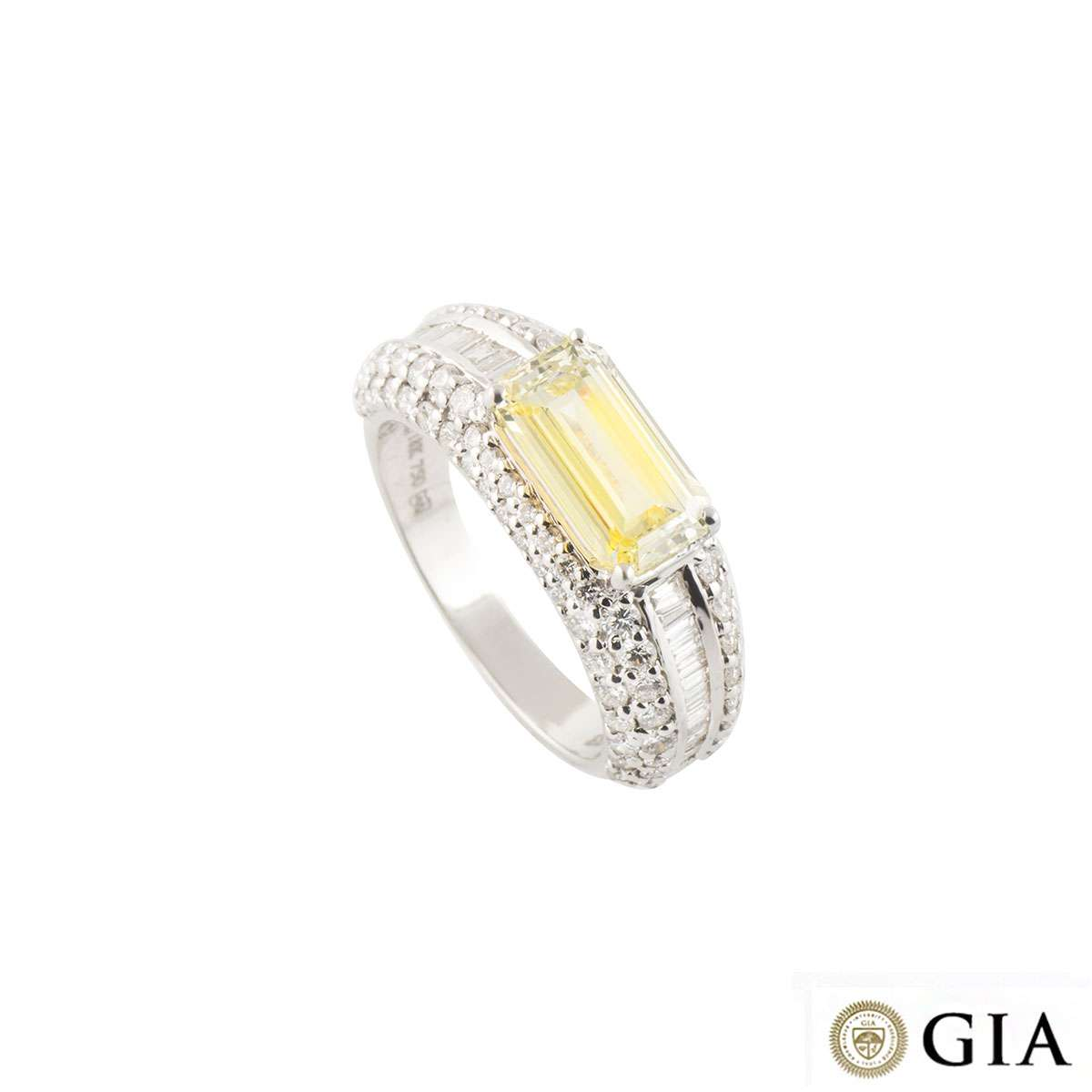 White Gold Fancy Intense Yellow Diamond Ring